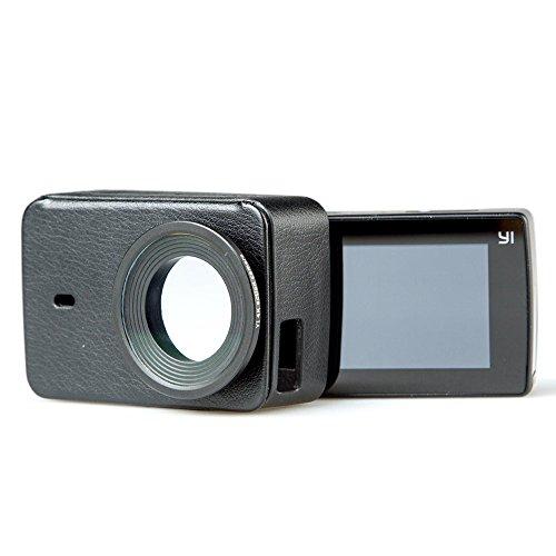 YI Ledertui + UV Schutzlinse Schwarz universal geeignet für YI 4K / YI 4K Plus Action Kamera (Offizielles Zubehör )
