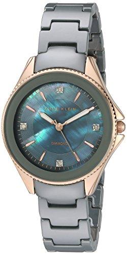 Anne Klein Femme AK/2390rggy Diamond-accented Couleur or rose et gris en céramique Bracelet de montre