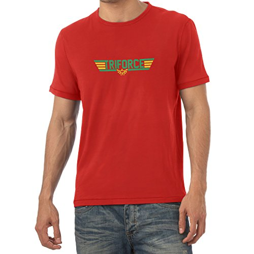 NERDO - Top Triforce - Herren T-Shirt, Größe M, rot (Tom Cruise Top Gun Kostüme)