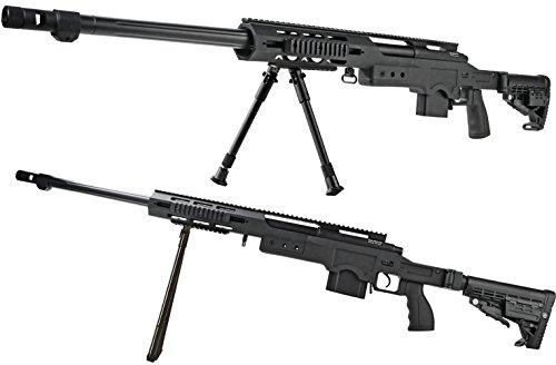 Softair-Gewehr Sniper Scharfschütze Federdruck Vollmetall 4,5 kg Spielzeug-Waffe max. 0,5 J im Set mit 6 mm BB Airsoft Munition (Bb Gun Sniper Gewehre)