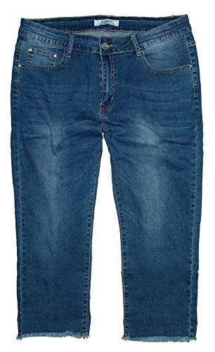 Voggo Damen Stretch Capri Dreiviertel Jeans Hose, blau Used -Fransen- W2175, Gr.50 W40 -