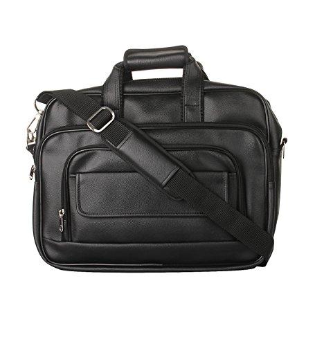 K London Black Artificial Leather Handmade Men & Women Laptop Bag Cross Over Shoulder Messenger Bag Office Bag (1102_black)