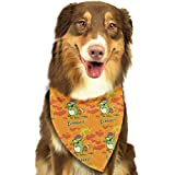 Sdltkhy Pet Bandana Funny Dinosaur with Fox Zombie Orange Washable and Adjustable Triangle Bibs for Pet Cats and Puppies