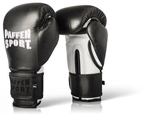 Paffen Sport PRO Klett Echtleder-Boxhandschuhe für das Sparring und Training - schwarz/weiß - 14UZ -