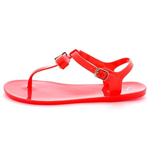 Damen Diamante Bogen Schnalle Flip-Flops Fesselriemen Sommer Sandalen Koralle