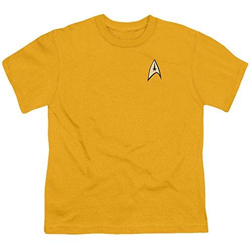 Star Trek-jugend-t-shirt (Star Trek - Kommando Uniform - Jugend Gold-Kurzarm-T-Shirt für Jungen, Youth Medium, Gold)