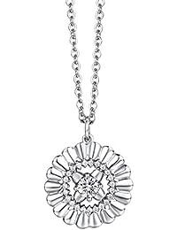 Kette in silber mit Anhänger Sonne / Blume, mit Kristallen. Italienischer Schmuck. Mode, Stil, Geschenk. DCK1149