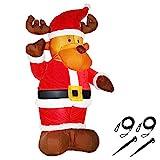 Monzana Aufblasbares Rentier 135cm LED beleuchtet inkl. Befestigungsmaterial Weihnachtsdekoration...