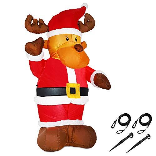 Monzana Aufblasbares Rentier 135cm LED beleuchtet inkl. Befestigungsmaterial Weihnachtsdekoration Weihnachten Elch