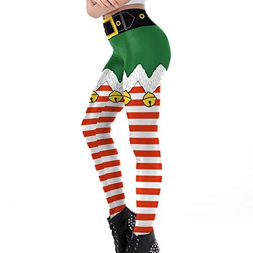 Yoga Hosen Damen,JiaMeng Weihnachtshosen Christmas Bell Stripe Print Hose mit hoher Taille und Bleistifthose Weihnachten deko Cyber Monday Geschenk