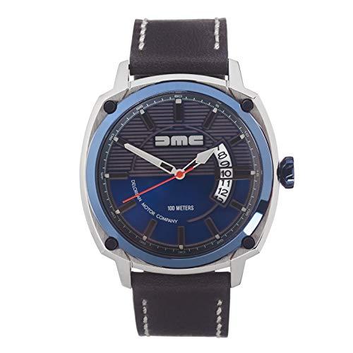 DMC DeLorean - Reloj de pulsera alfa para hombre | DeLorean Motor Company | Caja de acero inoxidable de 44 mm con bisel y corona azul IP | Resistente al agua y los arañazos de 100 m | Esfera azul | Co