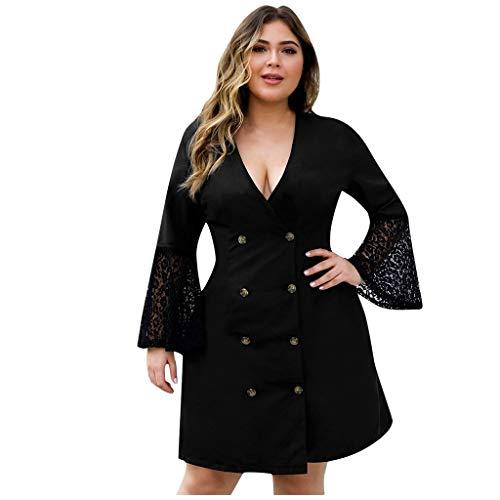 Vovotrade Anzug Kleid Damen V-Ausschnitt Lace Stitching Flare Ärmel Zweireiher Übergröße Frauen Blazer Suit -