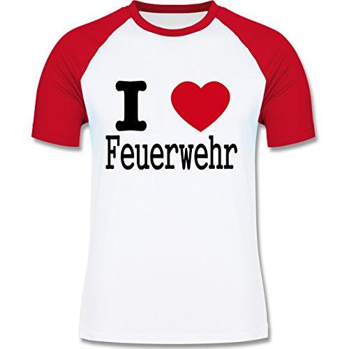 Feuerwehr - I Love Feuerwehr - zweifarbiges Baseballshirt für Männer Weiß/Rot