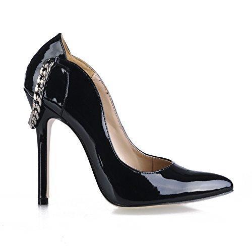 Klicken Sie auf Neue Frauen und Veranstaltungsräume wies Frauen Schuhe Kette mit schwarzen Perlen Everbright Code der die high-heel Schuhe, Schwarz (High Heels Mit Ketten Auf Sie)