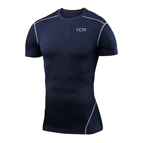 TCA Pro Performance - Herren/Jungen Funktionsshirt/Kompressionsshirt mit kurzen Ärmeln - Navy Eclipse - XL (Pro-mesh-boxer)