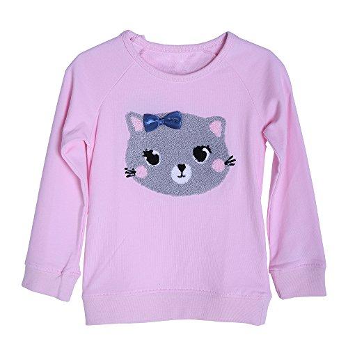 Mooler Mädchen Nette Katze Bestickte Langarm Sweatshirts Baumwolle Freizeithemden, 2 Jahre (Crewneck Jumper Weiches)