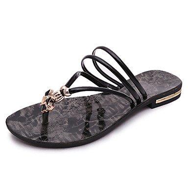 LvYuan Damen-Sandalen-Kleid Lässig-PU-Flacher Absatz-Komfort-Schwarz Weiß Black