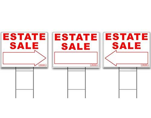 Großen Kombi Verkauf Zeichen Kit mit hohen steht-YARD Zeichen Bundle für Immobilien-3Pack-(1) 61x 45,7cm Yard, mit (2) gerichtete rechts oder links Pfeil + (3) 61cm hoch Draht Einsatz