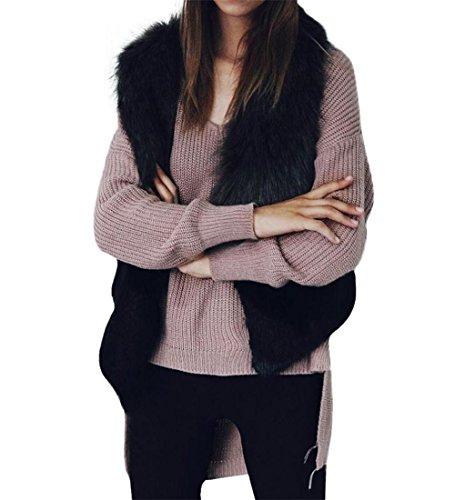 Faux Pelz-bomber (Damen Outwear Faux Pelz❄ZEZKT❄Frauen Pelz-Weste Mantel Felljacke Tops Herbst Blazer Cardigan Outerwear Winter Warm Fellweste (S, Schwarz))