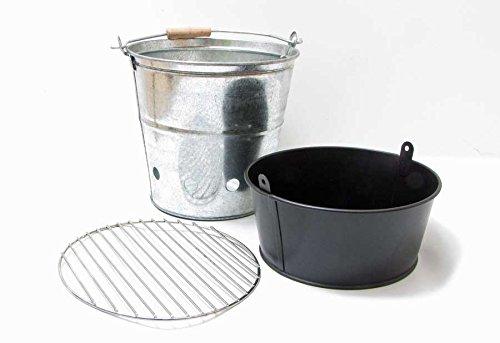 Serafin Grill-Eimer verzinkt mit Henkel H 30 cm Picknick-Grill zum Mitnehmen Grilleimer
