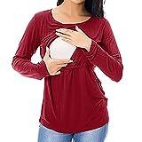 SANFAHSION Shirt de Maternité,Manche Longue de Grossesse Blouse d'allaitement Brassière Top Col Ronde Mode Vêtement Slime Shirt Confortable(Rouge,M)