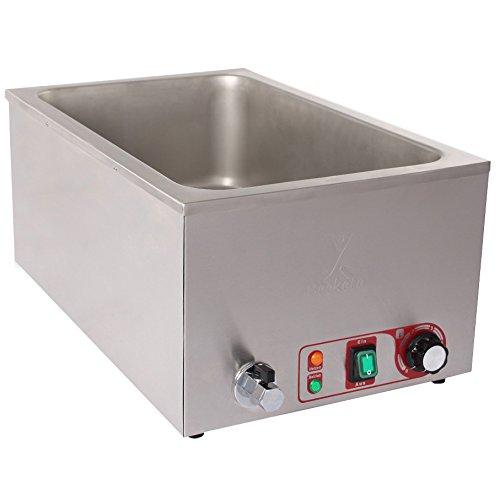 Bain Marie (Beeketal Gastronorm Bain Marie 'BBM-A' mit Ablaufhahn, Profi Gastro Speisewärmer passend für (GN) 1/1 Gastronorm Behälter, Wasserbad Temperatur einstellbar von 35-65 °C)