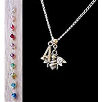 Handmade Bumble Bee Jewellery for Women Silver Chain Personalised Necklace with New Genuine Crystal