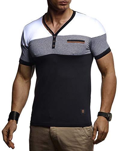 LEIF NELSON Herren Sommer T-Shirt V-Ausschnitt Slim Fit Baumwolle-Anteil | Basic Männer T-Shirt V-Neck Hoodie-Sweatshirt Kurzarm lang | Weißes Jungen Shirt Kurzarmshirts | LN4885 Schwarz Medium