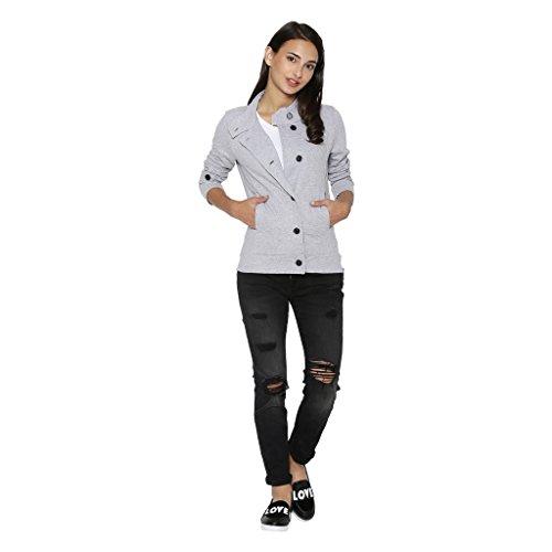 Campus Sutra Solid Women's Jacket (AZZW17_JKHNK_W_PLN_GR_AZ_L)