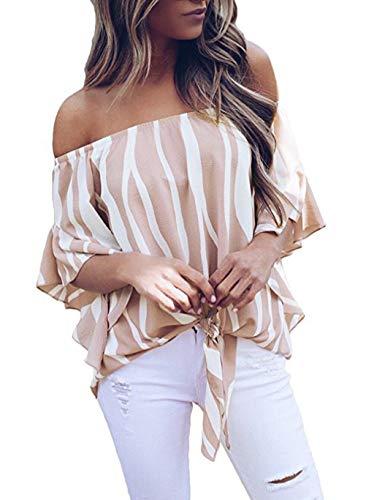 Woweal Damen/Frauen Bluse 2019 Mode Trompete Ärmel Casual T Shirts Tops Striped Off Schulter Tie Bluse Chiffonhemden (Rosa, S) -