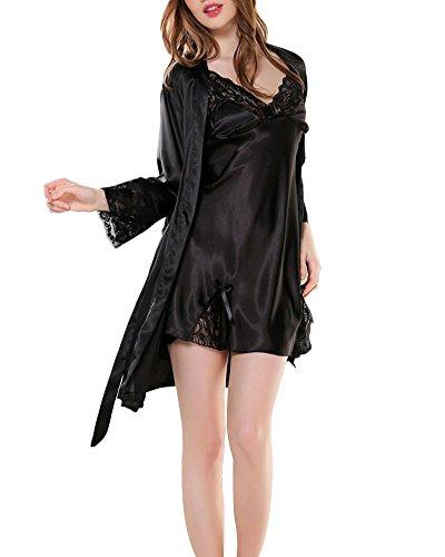 Ensemble 2Pcs Femme Peignoir en Satin Robe de Chambre Dentelle Col-V Chemise de Nuit Pyjama Noir