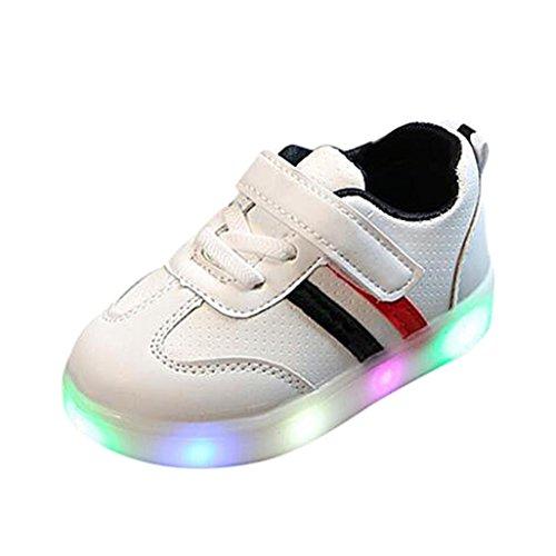 FNKDOR Baby Kleinkind Kinder LED Leuchtschuhe Weiß Turnschuhe Striped Sneaker(27,Schwarz) (Kostüm Leuchten Kleinkind)