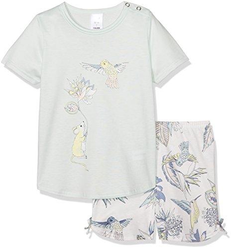 Calida Mädchen Zweiteiliger Schlafanzug Little Kolibri Pyjama Kurz, Blau (Opal Blue 581), 104 (Kurzer Schlafanzug Mädchen 2 Teiliger)