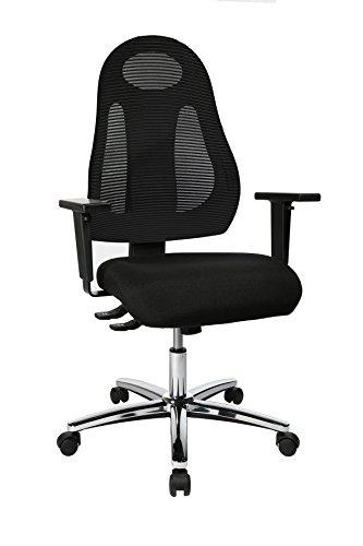 Preisvergleich Produktbild Topstar Free Art Chrom, ergonomischer Bürostuhl, Schreibtischstuhl mit Design-Rückenlehne, inkl. höhenverstellbarer Armlehnen, Stoff, Schwarz/Schwarz