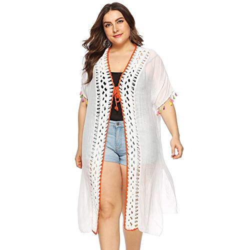 Plus Size Beachwear, Loose See-Through Beachwear Bikini Cover up Crochet Short Sleeve Tie Cardigan Sun Protection,White,XXL