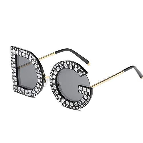 Z&X Unisex Vintage Sonnenbrille Persönlichkeits Buchstaben Sonnenbrille DG Diamond Sonnenbrille UV400 Schutz Eyeglass Geeignet Fahren Strandmode Reisen