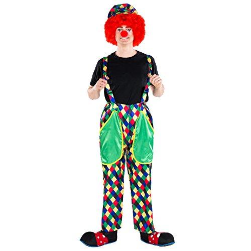dressforfun Costume da Uomo - Clown Augusto   Lucidi Pantaloni Colorati con Bretelle   Incl. Colorato Berretto con Visiera e Naso da Pagliaccio (XXL   No. 300832)