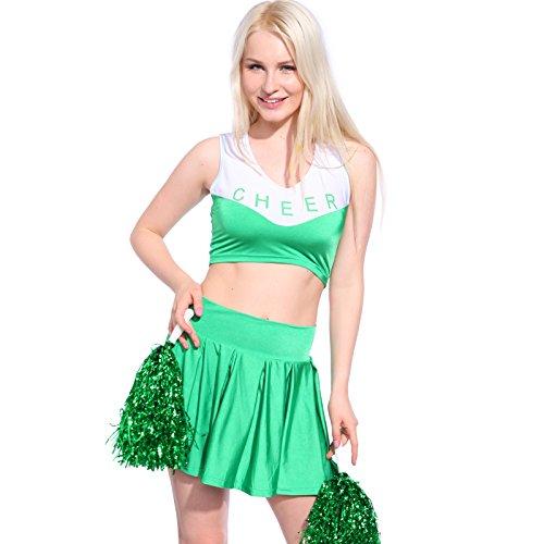 MABOOBIE Debardeur Jupe Plissee Pom-pom Girl Cheerleader Uniforme avec 2 Pompoms Vert S(30-32)