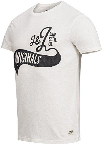 JACK & JONES Herren T-Shirt Jjorpaint Tee Ss Crew Neck Weiß (Cloud Dancer Detail:MELANGE. SLIM)