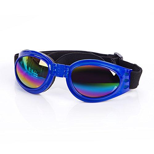 Cestlafit Haustier-Hundeschutzbrillen UV-Sonnenbrille, winddichter Schutz Hündchen-Welpen-Sonnenbrille, Hundebrille für großen Hund, Saphir