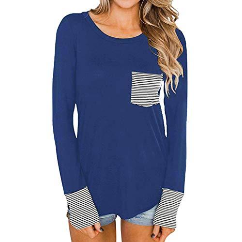 Zarupeng Frauen Rundhals Langarmshirt Basic Shirt Dünne Langarm Pullover Bluse Tunika Tops Gestreiftes Patchwork Sweatshirt