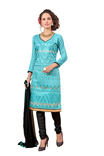 Blissta Light Blue Chanderi Embroidered Party Wear Dress Material(Diwali special 2017, ,great indian festival sale,festival offer,best deals of the day,traditional for women,sales offers)  available at amazon for Rs.699