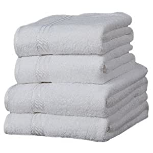 Linens Limited Supreme 100% Egyptian Cotton 500gsm 4 Piece Guest Towel Set, White