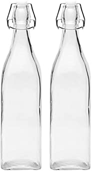 Favola Glass Square Shape Clear Bottle with Swing Top Cap, 1000ml (White) - Pack of 2