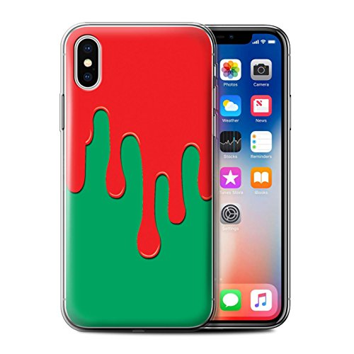 Stuff4 Gel TPU Hülle / Case für Apple iPhone X/10 / Blau/Lila Muster / Lack-Streuung Kollektion Rot/Grün