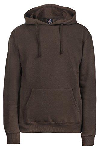 SUMG Kapuzenpullover Hoodie Kapuzen-Sweatshirt 'BASIC Hooded Pullover' (M, Schoko Braun) (Braun Sweatshirts Für Männer)