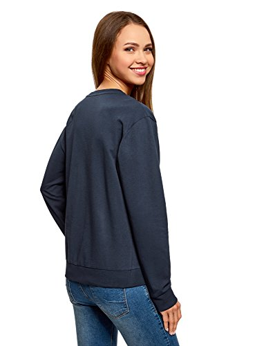 oodji Ultra Damen Baumwoll-Sweatshirt (2er-Pack) Blau (7900N)
