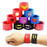 LATERN 10Pcs Bunte Schnapparmbänder für Kinder, Superhelden Slap Bands Silikon Wristband Party Bag Füllstoffe Slap Armbänder Set für Kinder Jungen & Mädchen Birthday Party Favors