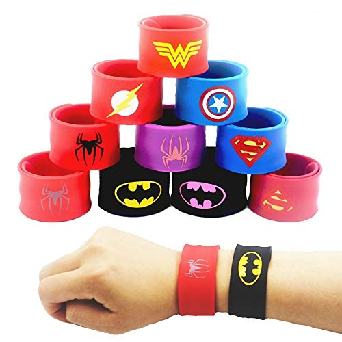 chnapparmbänder für Kinder, Superhelden Slap Bands Silikon Wristband Party Bag Füllstoffe Slap Armbänder Set für Kinder Jungen & Mädchen Birthday Party Favors ()