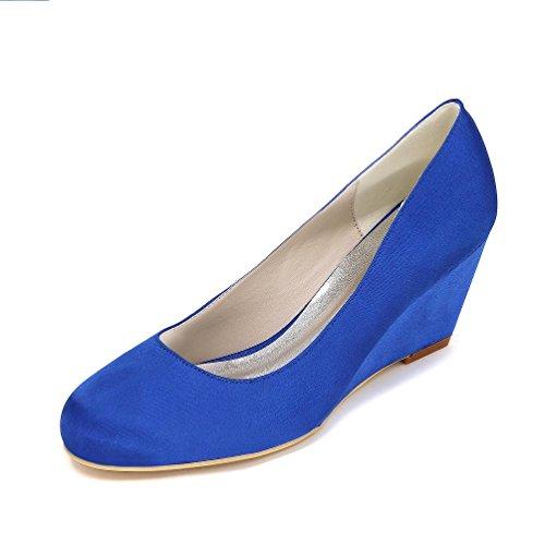 LEI&LI Chiuso Toe zeppa alta tacco raso matrimonio nuziale scarpe partito & sera scarpe più colori donne disponibili Blue